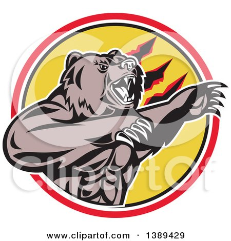 Clipart of a Retro California Grizzly Bear Attacking in a Black White Yellow and Red Circle - Royalty Free Vector Illustration by patrimonio