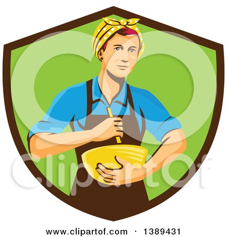 Clipart of a Retro White Female Chef or Baker Holding a Mixing Bowl in a Brown and Green Shield - Royalty Free Vector Illustration by patrimonio