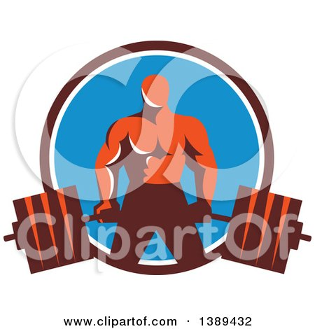 Clipart of a Retro Male Bodybuilder Holding a Heavy Barbell in a Brown White and Blue Circle - Royalty Free Vector Illustration by patrimonio