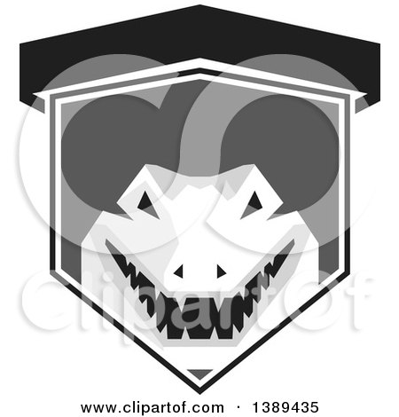 Clipart of a Retro Grayscale Snapping Alligator or Crocodile in a Shield - Royalty Free Vector Illustration by patrimonio