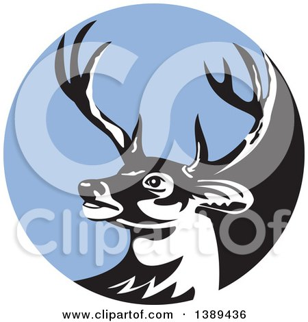 Clipart of a Retro Whitetail Deer Buck Head in a Blue Circle - Royalty Free Vector Illustration by patrimonio