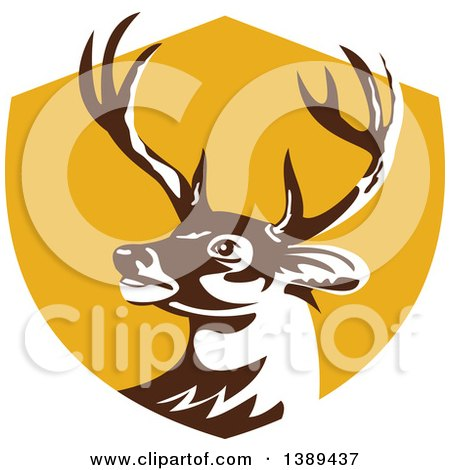 Clipart of a Retro Whitetail Deer Buck Head in a Yellow Shield - Royalty Free Vector Illustration by patrimonio