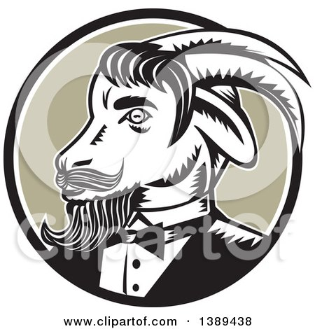 Clipart of a Retro Woodcut Ram Goat in a Tuxedo, in a Black White and Taupe Circle - Royalty Free Vector Illustration by patrimonio