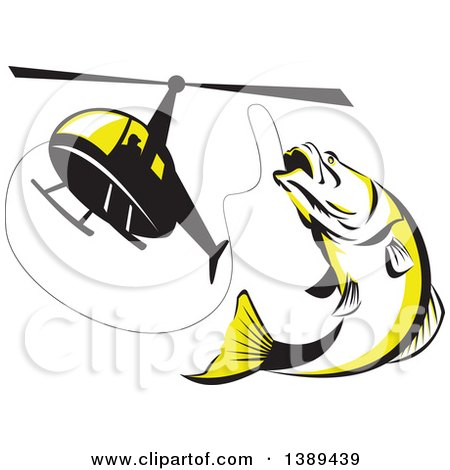 Clipart of a Retro Black White and Yellow Barramundi Asian Sea Bass Fish Jumping and Swallowing a Fishing Line Attached to a Helicopter - Royalty Free Vector Illustration by patrimonio