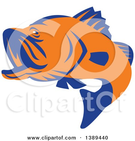 Clipart of a Retro Orange and Blue Barramundi Asian Sea Bass Fish Jumping - Royalty Free Vector Illustration by patrimonio