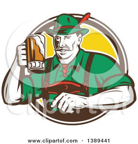 Clipart of a Retro German Man Wearing Lederhosen and Raising a Beer Mug for a Toast, Emerging from a White Brown and Yellow Circle - Royalty Free Vector Illustration by patrimonio