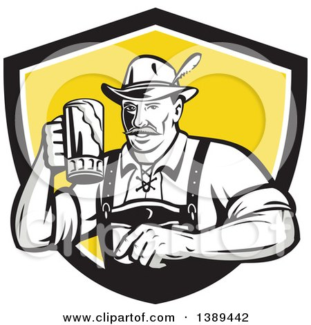 Clipart of a Retro German Man Wearing Lederhosen and Raising a Beer Mug for a Toast, Emerging from a Black White and Yellow Shield - Royalty Free Vector Illustration by patrimonio