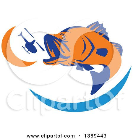 Clipart of a Retro Orange and Blue Barramundi Asian Sea Bass Fish Jumping and Swallowing a Helicopter - Royalty Free Vector Illustration by patrimonio