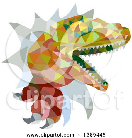 Clipart of a Retro Low Poly Geometric Lizard, Rator or Tyrannosaurus Rex Breaking Through a Wall - Royalty Free Vector Illustration by patrimonio