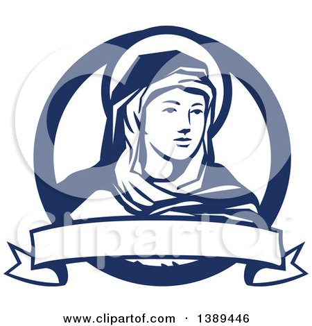 Clipart of the Blessed Virgin Mary in a Blue and White Circle, with a Ribbon Banner - Royalty Free Vector Illustration by patrimonio