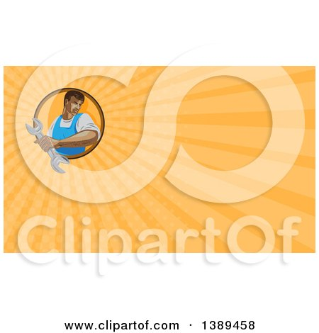 Clipart of a Retro Wpa Styled Mechanic Holding a Wrench and Orange Rays Background or Business Card Design - Royalty Free Illustration by patrimonio