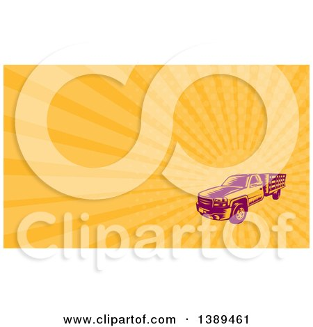 Clipart of a Retro Woodcut Pickup Truck and Orange Rays Background or Business Card Design - Royalty Free Illustration by patrimonio