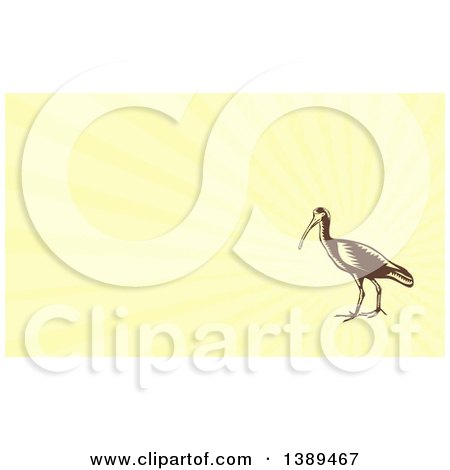 Clipart of a Retro Woodcut Crane Bird and Yellow Rays Background or Business Card Design - Royalty Free Illustration by patrimonio