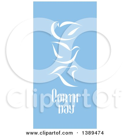 Flat Design White Doves and Earth Day Text on Blue Posters, Art Prints