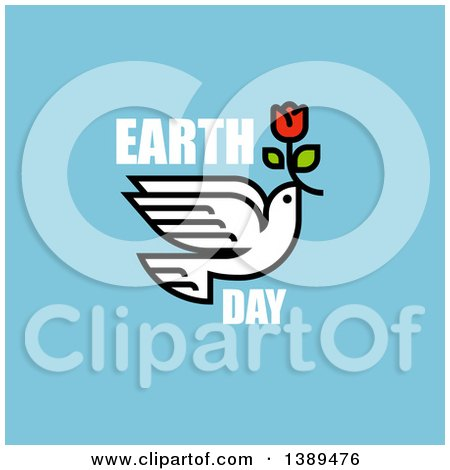 Peace Dove Flying with a Flower and Earth Day Text on Blue Posters, Art Prints