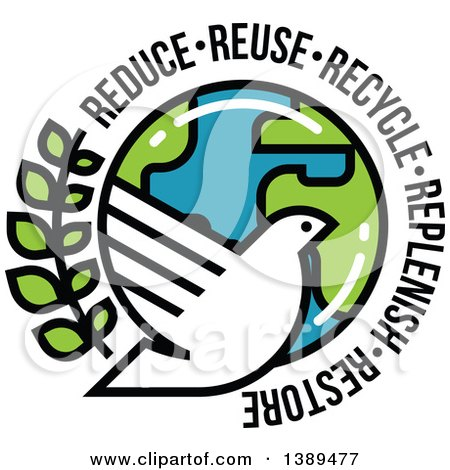 White Dove, Olive Branch and Planet Earth with Reduce Reuse Recycle Replenish and Restore Text Posters, Art Prints
