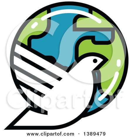 Clipart of a White Dove and Planet Earth - Royalty Free Vector Illustration by elena