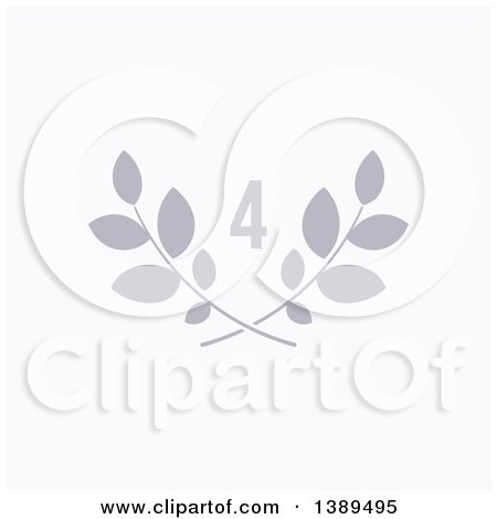 Clipart of a Gray Number Four over Laurel Branches on White - Royalty Free Vector Illustration by elena