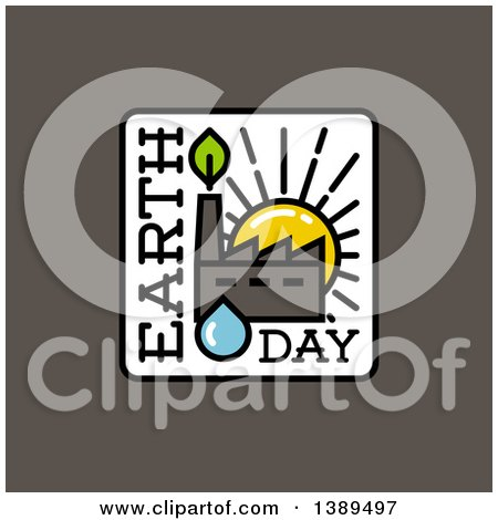 Clipart of a Flat Square Earth Day Design with a Factory at Sunset over Gray - Royalty Free Vector Illustration by elena