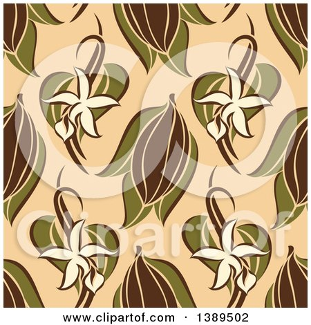 Clipart of a Flat Design Background Pattern of Vanilla Flowers, Pods and Cocoa on Tan - Royalty Free Vector Illustration by elena