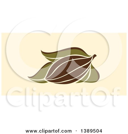 Clipart of a Flat Design Cocoa Pod and Leaves on Tan - Royalty Free Vector Illustration by elena