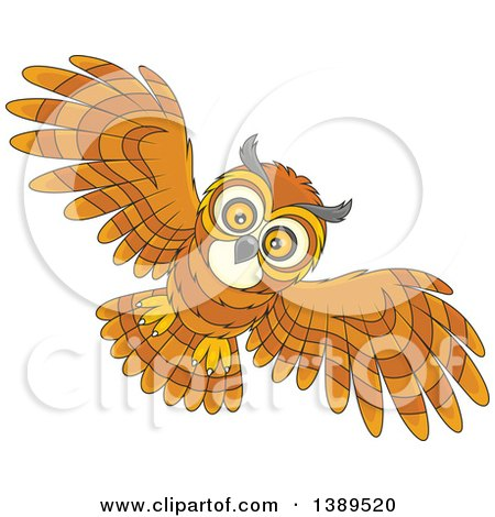 Clipart of a Cartoon Flying Owl - Royalty Free Vector Illustration by Alex Bannykh