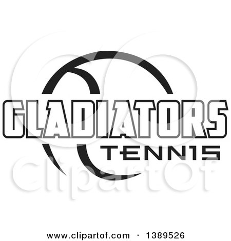 Clipart of a Black and White Ball and GLADIATORS Tennis Text - Royalty Free Vector Illustration by Johnny Sajem
