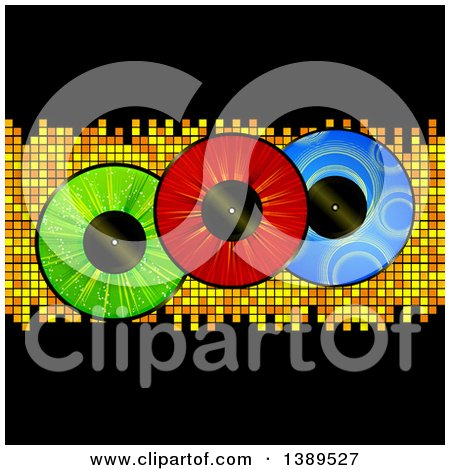Clipart of Colorful Vinyl Record Lps over Mosaic Tiles and Black - Royalty Free Vector Illustration by elaineitalia