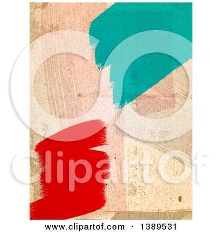 Clipart of a Dirty Wall with Red and Turquoise Paint Stokes - Royalty Free Vector Illustration by elaineitalia
