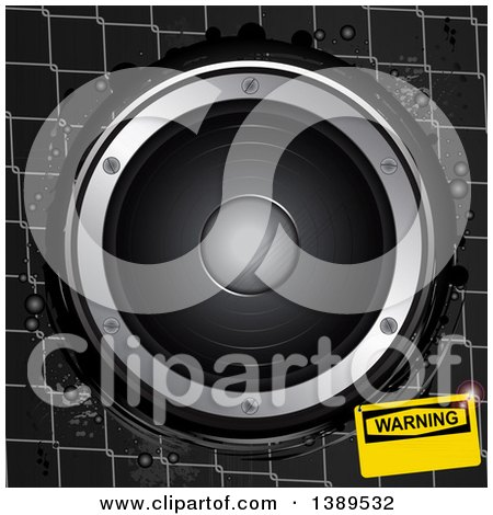 Clipart of a 3d Music Speaker over Metal Cage Wire with a Warning Sign - Royalty Free Vector Illustration by elaineitalia