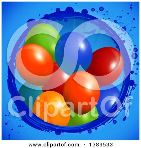 Clipart of 3d Colorful Party Balloons Emerging from a Grungy Circle with an Airplane on Blue - Royalty Free Vector Illustration by elaineitalia