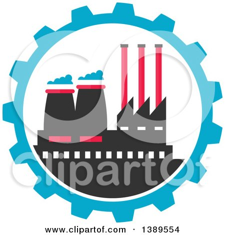 Clipart of a Flat Design Factory Complex in a Blue Gear Cog Wheel - Royalty Free Vector Illustration by Vector Tradition SM