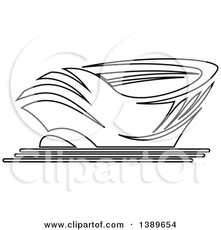 Clipart of a Lineart Stadium - Royalty Free Vector Illustration by Vector Tradition SM