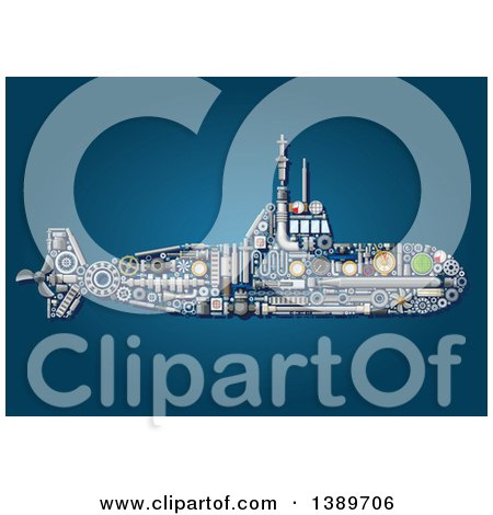 Clipart of a Submarine Made of Mechanical Parts on Blue - Royalty Free Vector Illustration by Vector Tradition SM