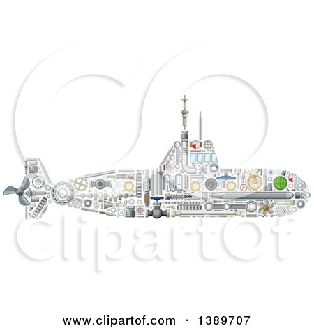 Clipart of a Submarine Made of Mechanical Parts - Royalty Free Vector Illustration by Vector Tradition SM