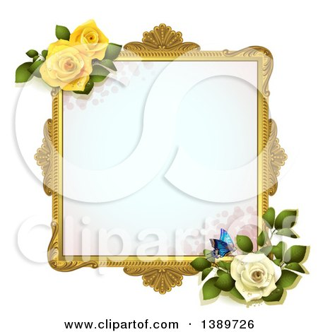 Clipart of a Blank Wedding Picture Frame with Yellow and White Roses and a Butterfly, on White - Royalty Free Vector Illustration by merlinul