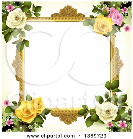 Clipart of a Blank Wedding Picture Frame with Pink, Yellow and White Roses and Blossoms - Royalty Free Vector Illustration by merlinul