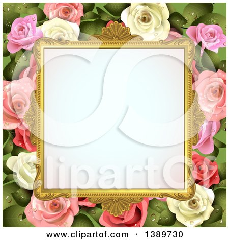 Clipart of a Blank Wedding Picture Frame with White and Pink Roses with Leaves - Royalty Free Vector Illustration by merlinul
