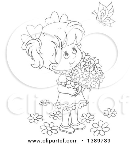 Royalty Free Stock Illustrations Of Picking Flowers By Alex Bannykh