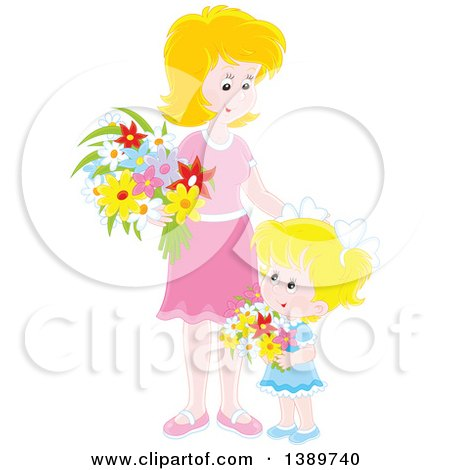 Clipart of a Happy Blond Caucasian Girl and Mother Holding Flowers - Royalty Free Vector Illustration by Alex Bannykh