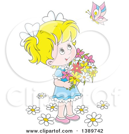 Clipart of a Cartoon Happy Blond White Girl Holding Flowers and Looking up at a Butterfly - Royalty Free Vector Illustration by Alex Bannykh