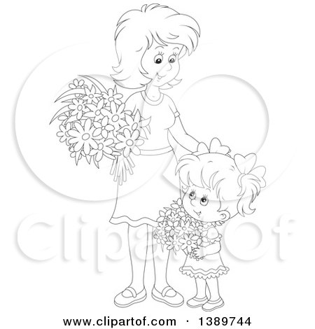 Clipart of a Cartoon Black and White Lineart Girl and Mother Holding Flowers - Royalty Free Vector Illustration by Alex Bannykh