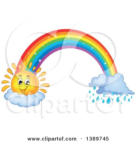 Clipart of a Happy Sun Character and Rainbow with Rain - Royalty Free Vector Illustration by visekart