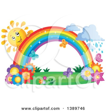 Clipart of a Happy Sun Character Behind a Rainbow over Flowers, with Rain - Royalty Free Vector Illustration by visekart