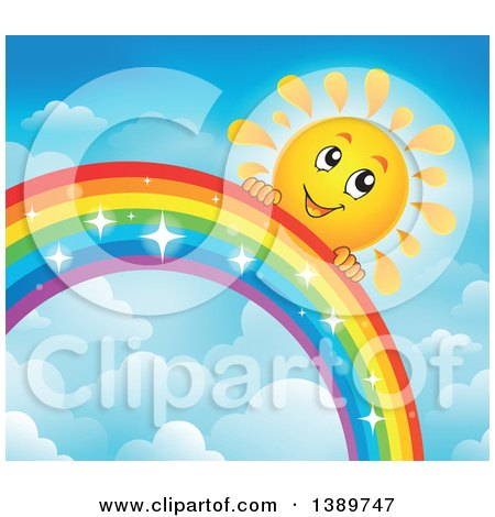 Clipart of a Happy Sun Character Behind a Rainbow - Royalty Free Vector Illustration by visekart