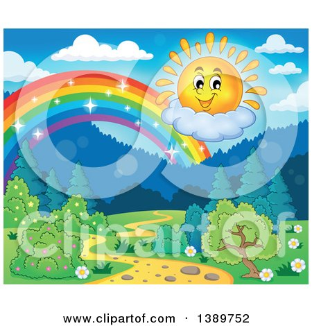 Clipart of a Happy Sun Character and Rainbow over a Landscape - Royalty Free Vector Illustration by visekart