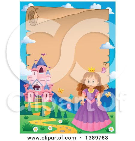 Clipart of a Fairy Tale Castle and Princess Parchment Scroll Border - Royalty Free Vector Illustration by visekart