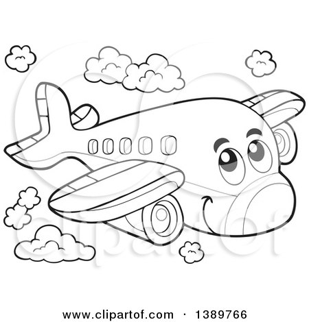 cute airplane clipart outline