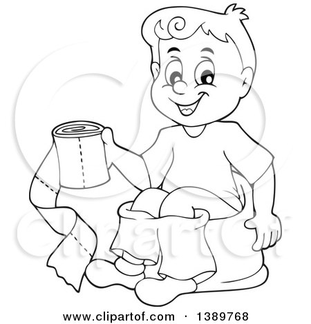 Clipart Of A Cartoon Black And White Lineart Boy Sitting On Potty Training Chair Holding Toilet Paper