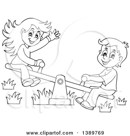 Clipart of a Black and White Lineart Happy Boy and Girl Playing on a See Saw Teeter Totter - Royalty Free Vector Illustration by visekart